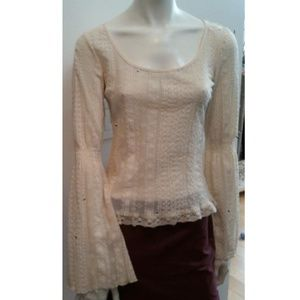 Sharagano Bell Flare Sleeve French Top RARE S NWT